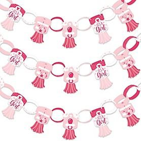 It's a Girl - 90 Chain Links and 30 Paper Tassels Decoration Kit - Pink Baby Shower Paper Chains Garland - 21 feet