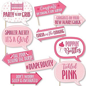 Funny It's a Girl - 10 Piece Pink Baby Shower Photo Booth Props Kit