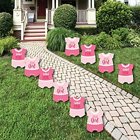 It's a Girl - Baby Bodysuit Lawn Decorations - Outdoor Pink Baby Shower Yard Decorations - 10 Piece
