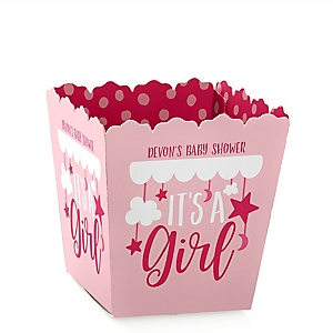 It's a Girl - Party Mini Favor Boxes - Personalized Pink Baby Shower Treat Candy Boxes - Set of 12