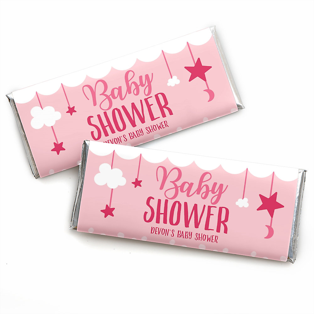 It S A Girl Personalized Candy Bar Wrappers Pink Baby Shower Favors Set Of 24