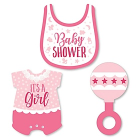 It's a Girl - DIY Shaped Pink Baby Shower Paper Cut - Outs - 24 ct