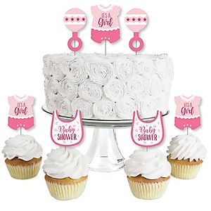 It's a Girl - Dessert Cupcake Toppers - Pink Baby Shower Clear Treat Picks - Set of 24