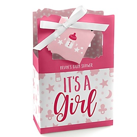 It's a Girl - Personalized Pink Baby Shower Favor Boxes - Set of 12