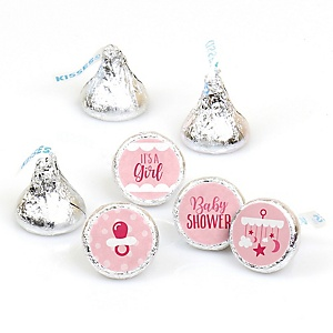 It's a Girl - Pink Baby Shower Round Candy Labels Party Favors - Fits Hershey's Kisses - 108 ct