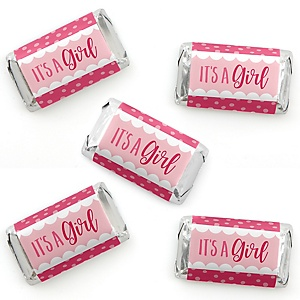 It's a Girl - Mini Candy Bar Wrapper Stickers - Pink Baby Shower Small Favors - 40 Count