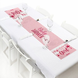 It's a Girl - Personalized Pink Baby Shower Petite Table Runner