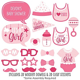 It's a Girl - 20 Piece Pink Baby Shower Photo Booth Props Kit