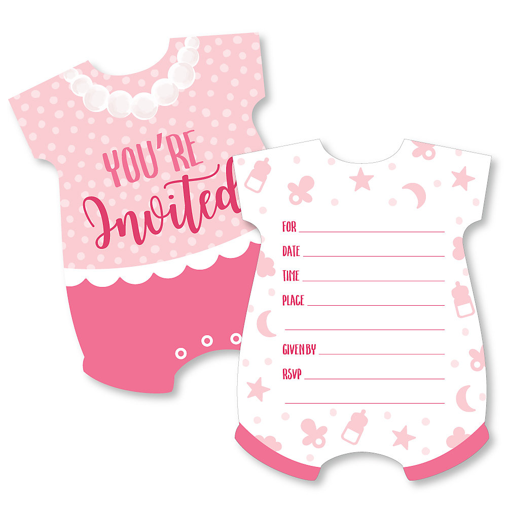 It S A Girl Shaped Fill In Invitations Pink Baby Shower Invitation Cards With Envelopes Set Of 12