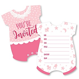 It's a Girl - Shaped Fill-In Invitations - Pink Baby Shower Invitation Cards with Envelopes - Set of 12