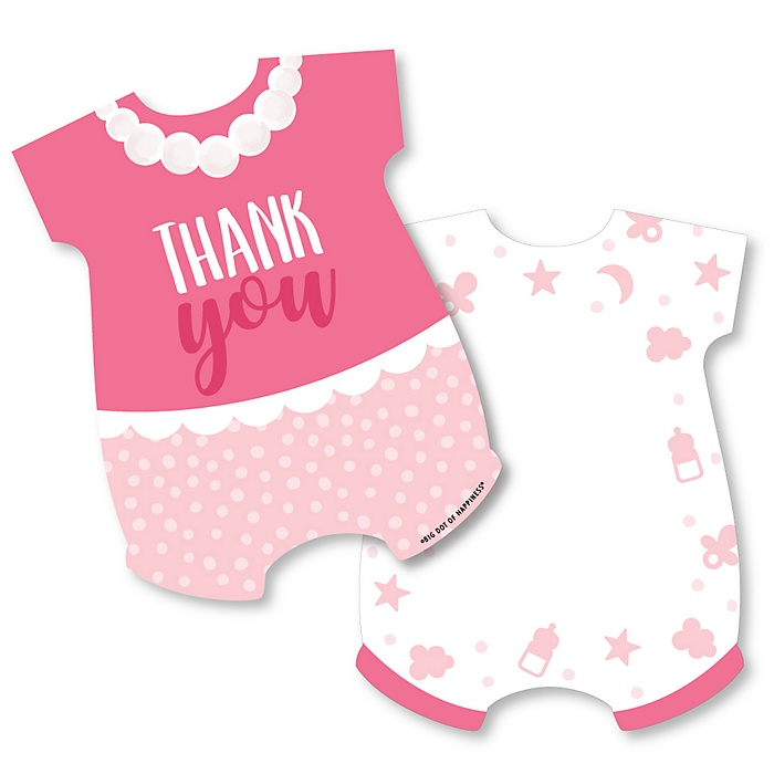 It's a Girl - Shaped Thank You Cards - Pink Baby Shower Thank You Note Cards with Envelopes - Set of 12