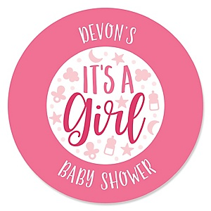 It's a Girl - Personalized Pink Baby Shower Sticker Labels - 24 ct