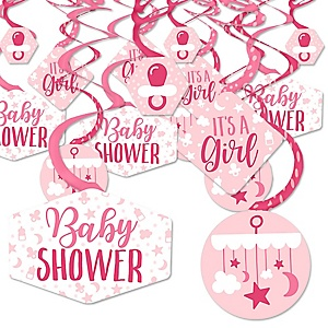 It's a Girl - Pink Baby Shower Hanging Decor - Party Decoration Swirls - Set of 40