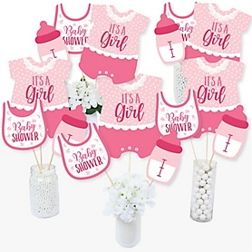 It's a Girl - Pink Baby Shower Party Centerpiece Sticks - Table Toppers - Set of 15