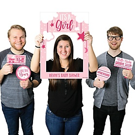 It's a Girl - Personalized Pink Baby Shower Selfie Photo Booth Picture Frame & Props - Printed on Sturdy Material