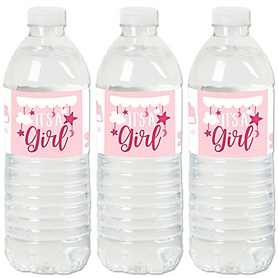It's a Girl - Pink Baby Shower Water Bottle Sticker Labels - Set of 20