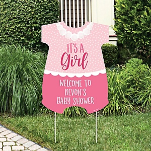 It's a Girl - Party Decorations - Pink Baby Shower Personalized Welcome Yard Sign