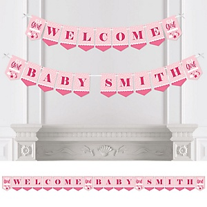 It's a Girl - Personalized Pink Baby Shower Bunting Banner & Decorations