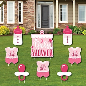 It's a Girl - Yard Sign & Outdoor Lawn Decorations - Pink Baby Shower Yard Signs - Set of 8
