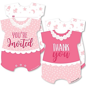It's a Girl - 20 Shaped Fill-In Invitations and 20 Shaped Thank You Cards Kit - Pink Baby Shower Stationery Kit - 40 Pack