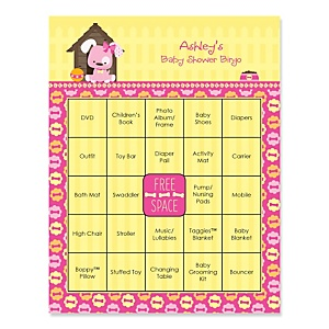 Girl Puppy Dog - Bingo Personalized Baby Shower Games - 16 Count