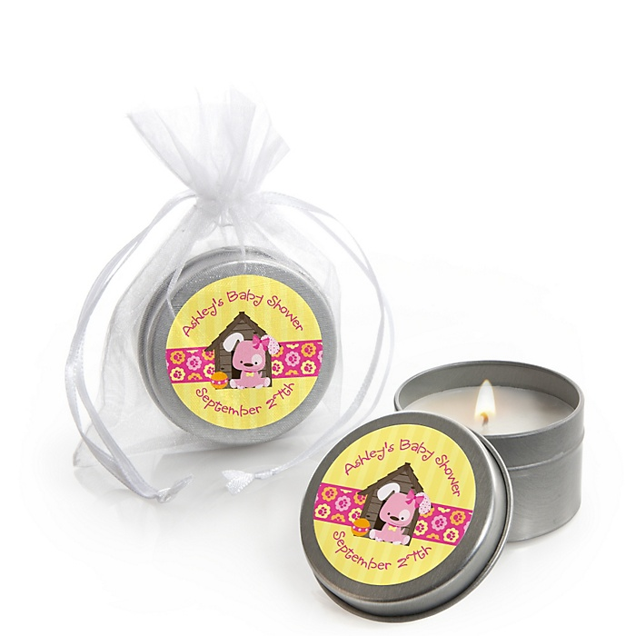 Girl Puppy Dog - Personalized Baby Shower Candle Tin Favors - Set of 12