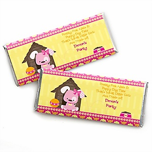 Girl Puppy Dog - Personalized Candy Bar Wrapper Baby Shower or Birthday Party Favors - Set of 24