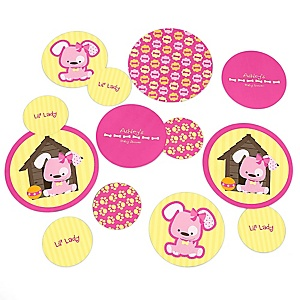 Girl Puppy Dog - Personalized Baby Shower Table Confetti - 27 ct