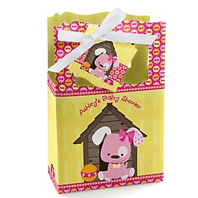 Girl Puppy Dog - Personalized Baby Shower Favor Boxes - Set of 12