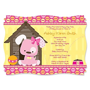 Girl Puppy Dog - Personalized Baby Shower Invitations - Set of 12