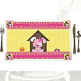 Girl Puppy Dog - Personalized Baby Shower Placemats