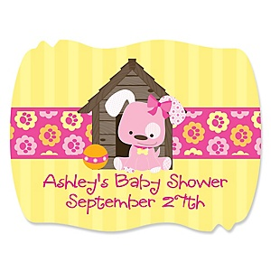 Girl Puppy Dog - Personalized Baby Shower Squiggle Stickers - 16 ct