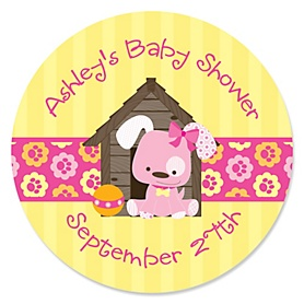 Girl Puppy Dog - Personalized Baby Shower Sticker Labels - 24 ct