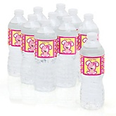 Girl Puppy Dog - Personalized Party Water Bottle Sticker Labels - Set of 10