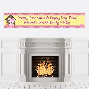 Girl Puppy Dog - Personalized Birthday Party Banners