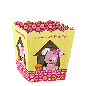 Girl Puppy Dog - Party Mini Favor Boxes - Personalized Birthday Party Treat Candy Boxes - Set of 12