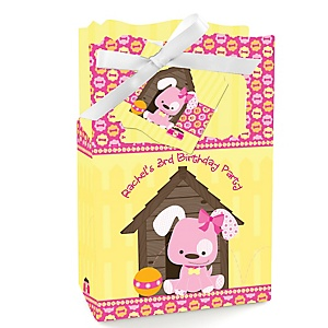 Girl Puppy Dog - Personalized Birthday Party Favor Boxes - Set of 12