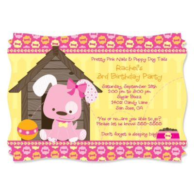 Girl Puppy Dog Personalized Birthday Party Invitations