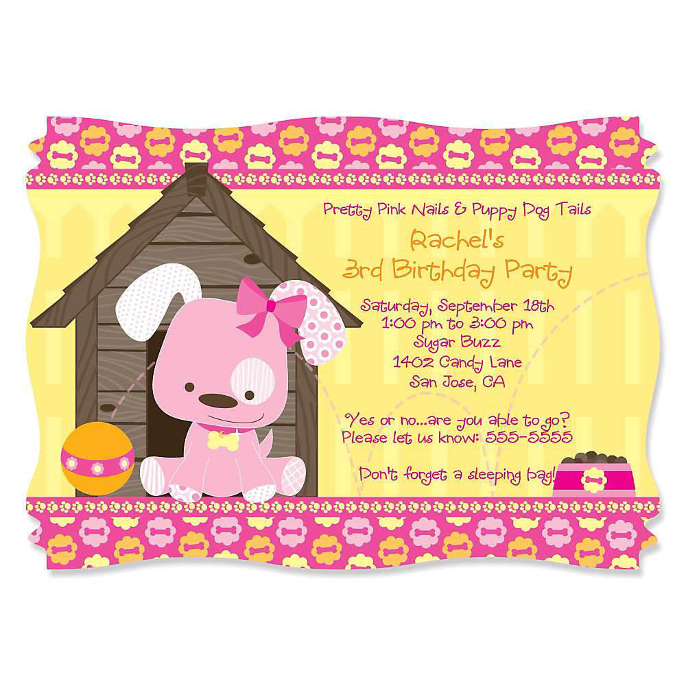 Girl Puppy Dog - Personalized Birthday Party Invitations ...