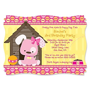 Girl Puppy Dog - Personalized Birthday Party Invitations - Set of 12