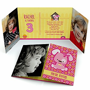 Girl Puppy Dog - Personalized Birthday Party Photo Invitations - Set of 12