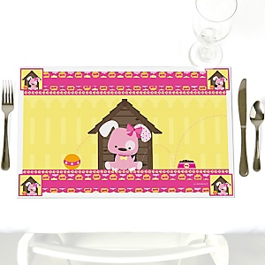 Girl Puppy Dog - Party Table Decorations - Baby Shower or Birthday Party Placemats - Set of 12