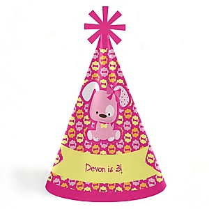 Girl Puppy Dog - Personalized Cone Happy Birthday Party Hats for Kids and Adults - Set of 8 (Standard Size)