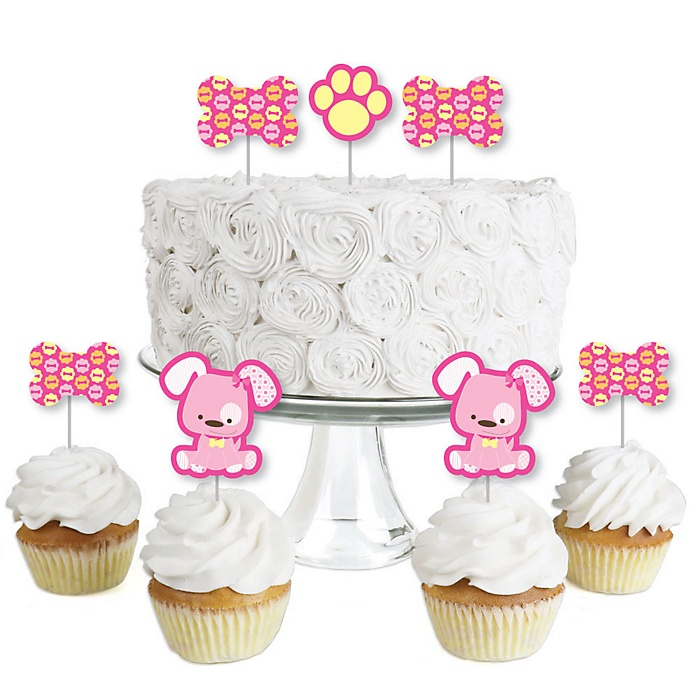 Girl Puppy Dog - Dessert Cupcake Toppers - Baby Shower or Birthday Party Clear Treat Picks - Set of 24