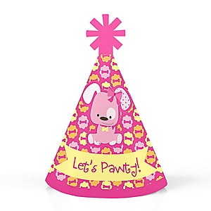 Girl Puppy Dog - Personalized Mini Cone Baby Shower or Birthday Party Hats - Small Little Party Hats - Set of 10