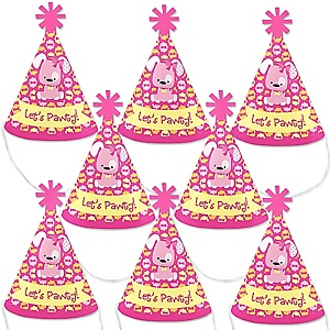 Girl Puppy Dog - Mini Cone Baby Shower or Birthday Party Hats - Small Little Party Hats - Set of 8
