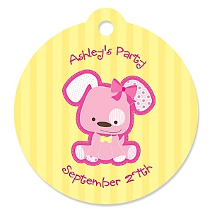 Girl Puppy Dog - Round Personalized Party Tags - 20 ct