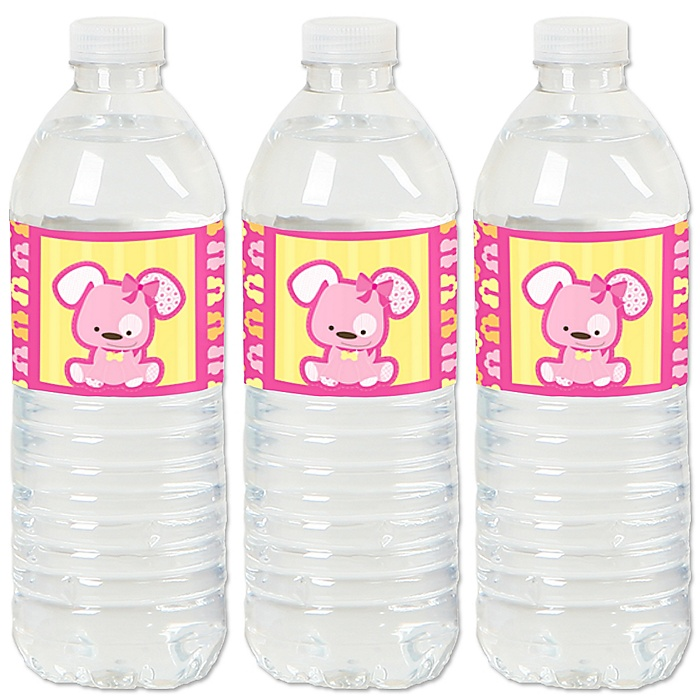 Girl Puppy Dog - Baby Shower or Birthday Party Water Bottle Sticker Labels - Set of 20