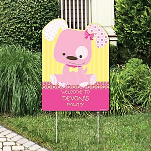 Girl Puppy Dog - Party Decorations - Birthday Party or Baby Shower Personalized Welcome Yard Sign