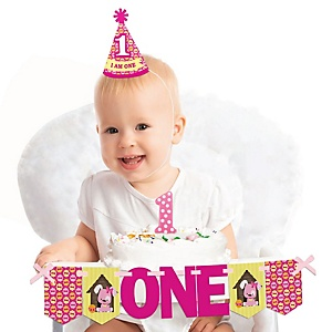 Girl Puppy Dog 1st Birthday - First Birthday Girl Smash Cake Decorating Kit - High Chair Decorations